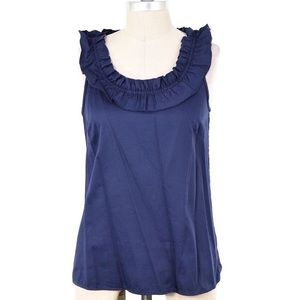 J.Crew Sateen Ruffle Neck Sleeveless Blouse - Sz 2